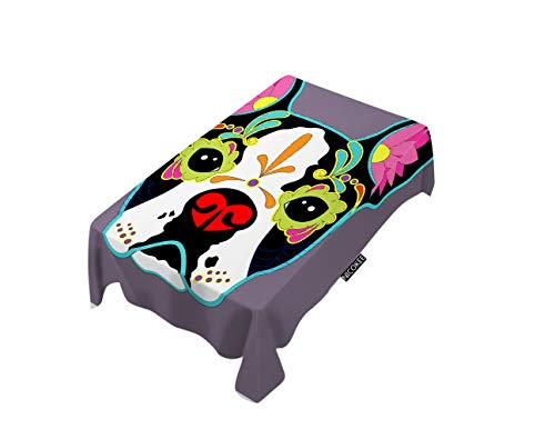 - NICOKEE Polyester Decorative Tablecloth Dog Head Rectangle Table Cloth Mexican Folk Art Puppy Spooky Animal Culture Ethnic Vintage Gothic Table Cover for Kitchen Dinning Party End Table Protection