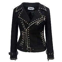 Rivet Studded Asymmetric Deer Velvet Black Biker Jacket