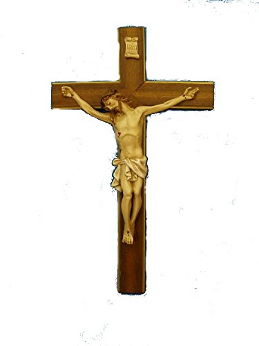 Crucifix with hand-painted alabaster corpus on a wood cross with gold highlights, 20inches. Made in Italy. by GSV001