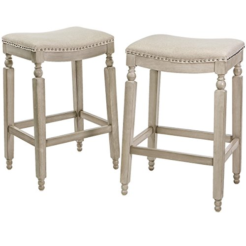 Barton Isabel Padded Counter Saddle Backless Indoor/Outdoor Bar Stool (28.5