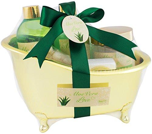BRUBAKER Beauty Gift Set 'Aloe Vera Love' with Golden Bathtu