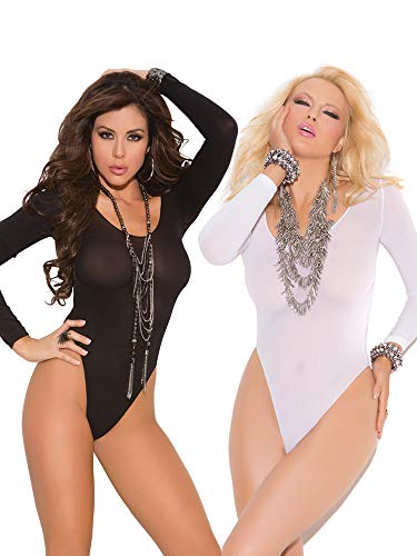 Womens Long Sleeved Sexy Black and White Bodysuit Opaque Romper Teddy Lingerie- Pack of - Bodysuit Long Sleeved Opaque