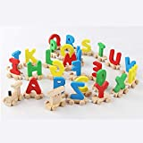 Puzzles - Montessori Baby Wood Train Toy Children Letter Wooden Toys Train A-Z