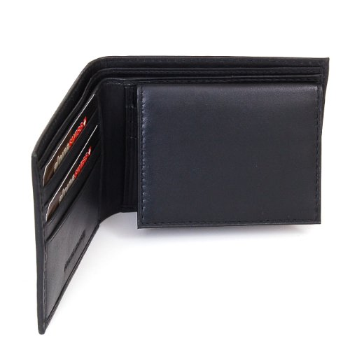 Alpine Swiss Mens Leather Bifold Wallet with Flip up ID Window W Removable Card Case