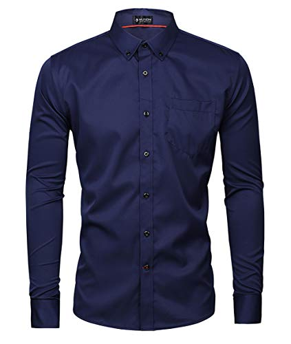 Musen Men Slim Fit Dress Shirt Casual Solid Elastic Button Down Long Sleeve Formal Shirt Navy Blue XL