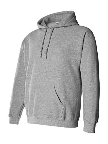 (Gildan G125 DryBlend Adult Hooded Sweatshirt, Sport Grey,)