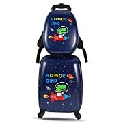 """miuse 2 PCS Kids Luggage Set, ABS 13"""" Backpack 18"""" Suitcase Carry on Rolling Trolley Case for Boys and Girls Children…"""