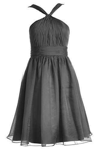 MACloth Women Knotted Chiffon Short Bridesmaid Dress Formal Cocktail Party Gown Gris