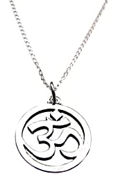 "Om, Ohm, Aum Symbol Charm Sterling Silver Necklace, 18"", Yoga Inspired Jewelry"