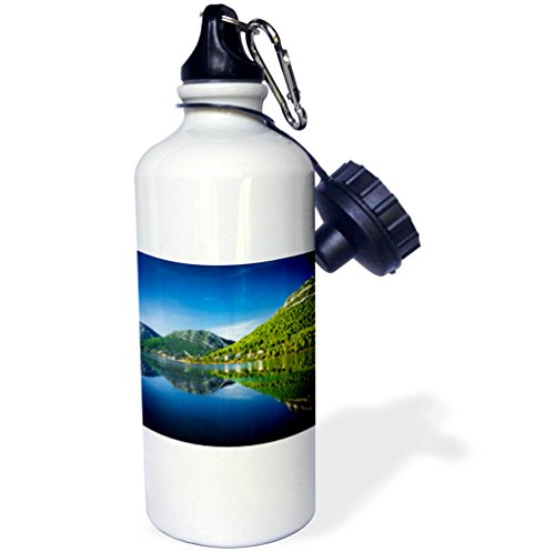 3dRose Danita Delimont - Lakes - Adriatic reflection and the Great Wall, Ston, Dalmatian Coast, Croatia - 21 oz Sports Water Bottle (wb_277925_1) by 3dRose