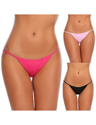 Ekouaer Soft Breathable Thong Brief Panties Cotton Underwear for Women 3 Pack (XL, C(Black/Red/Rose))