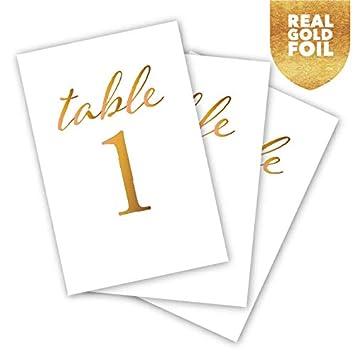 HDCo números de mesa de boda de aluminio dorado, 1 a 25, centro de ...