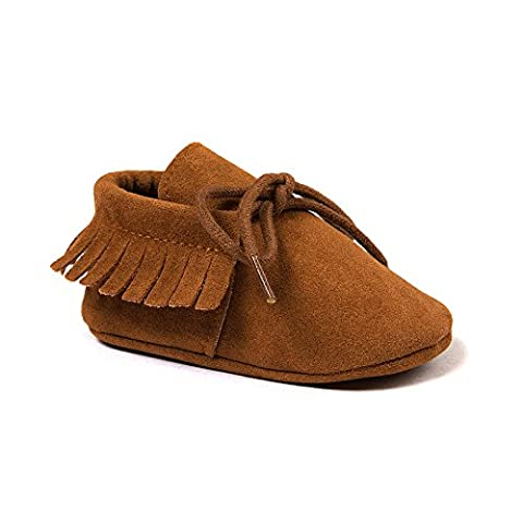 OOSAKU Baby Boys Genuine Leather Soft Bottom Lace Up Moccasins Crib Shoes (0-6 Months, Yellow) - Leather Baby Moccasins