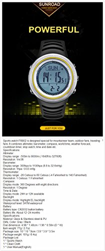 FR802 5ATM Waterproof Altimeter Compass Stopwatch Fishing Barometer Pedometer Outdoor Sports Watch by YARUIFANSEN