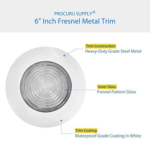 PROCURU 6'' Fresnel Glass Lens with White Metal Shower Trim - for Wet Locations - for 6'' Recessed Can Lights - UL Listed (White-Fresnel (1-Pack)) by PROCURU (Image #3)'