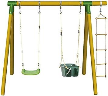 MASGAMES Columpio de Madera KADI Deluxe con Asiento Bebe y Asiento Plano de plastico con Cuerdas y Escalera de Cuerda: Amazon.es: Juguetes y juegos