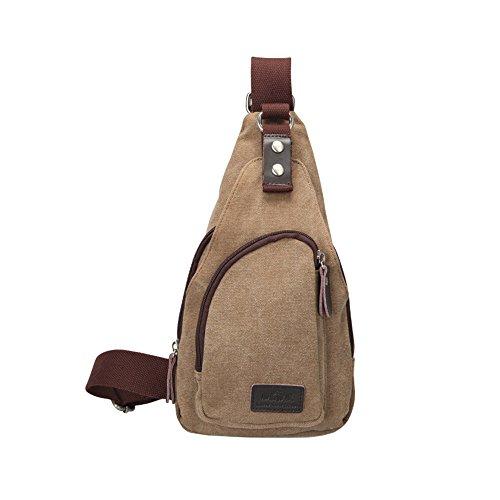 Wewod Bolso de Pecho Hombre de Casual,Bolsa de Hombro Deporte de Lona,Mochilas Escolares de Hombro,Sling Bag for Men 15 x 30 x 6 cm (L*H*W) (Negro) Marrón claro