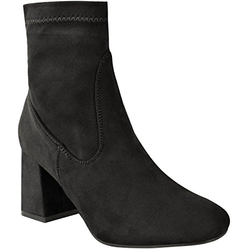 Heel Black Ladies Velvet Size Faux Boots Casual Chelsea Shoes Low Womens Chunky Suede Thirsty Fashion Block Ankle qwS60g6