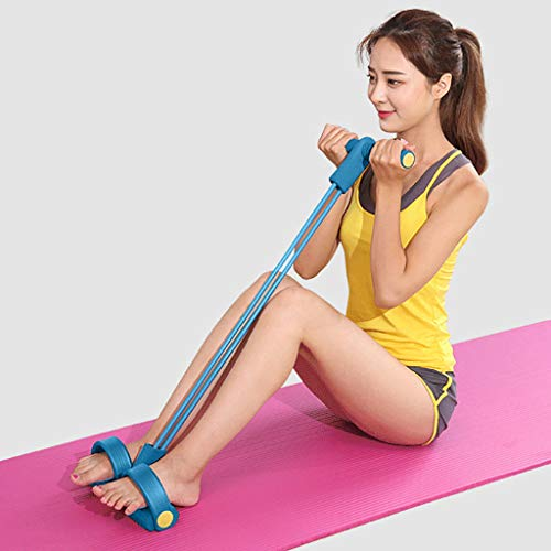 (Iusun Resistance Band 2-Strength Ankle Leg Spring Puller Sit Up Foot Pedal Assist Trainer Loop Exercise for Workout, Gym Fitness, Pilates, Training, Rehab, Yoga, Physical Therapy (Blue))