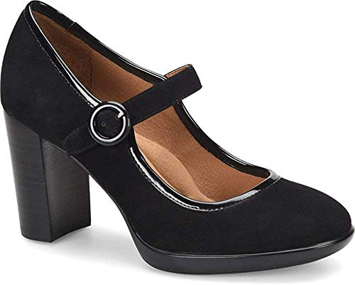 (Sofft Womens Natara Leather Round Toe Ankle Strap Mary Jane, Black, Size)