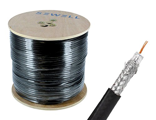 500' Black Rg6 Quad - Sewell Direct SW-30083 RG6 Bulk Cable, CCS, Black, 95% Braid, 500' Spool
