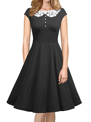 iLover Womens Classy Vintage Audrey Hepburn Style 1940's Rockabilly Evening Dress Black (1950s Womens Clothes)