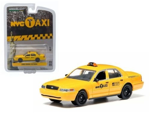 Taxi Diecast Car (NEW 1:64 GREENLIGHT HOBBY EXCLUSIVE - Yellow 2011 Ford Crown Victoria New York City (NYC) Taxi Diecast Model Car By Greenlight)