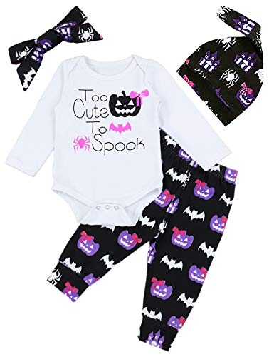 4Pcs My First Halloween Pumpkin Outfit Set Baby Boys Girls Cute Romper 0-3 Months ()