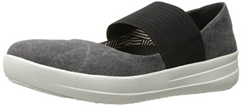 FitFlop Women's F-Sporty Mary Jane Flat, Black, 8.5 M US by FitFlop