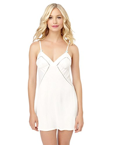 (Betsey Johnson Women's Luscious Lite and Satin Slip Nightgown, Pearl Large)