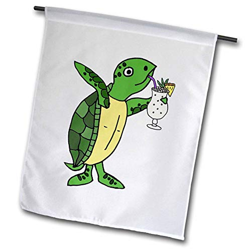 3dRose All Smiles Art - Drinking - Funny Cute Sea Turtle Drinking Pina Colada Beach Cartoon - 18 x 27 inch Garden Flag (fl_315989_2)