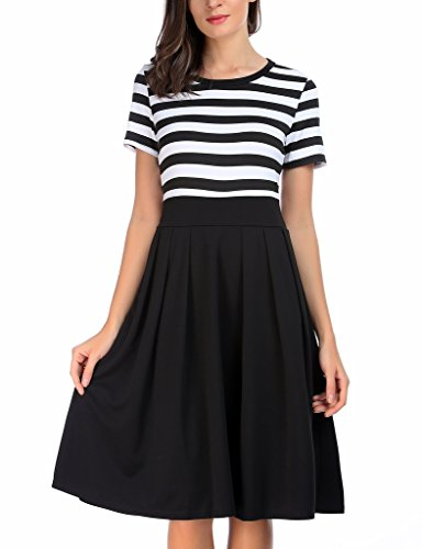 1 Long Casual Dresses Swing Stripe Scoop Sleeve AAMILIFE Short Neck Modest black 4 3 Women's wZHCApnqO