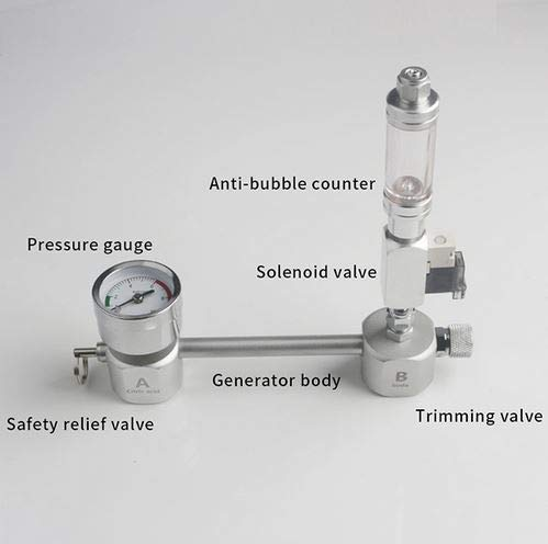 +bubble counter+solenoid valve ZRDR Aquarium DIY CO2 Generator System Kit with Pressure Air Flow Adjustment Water Plant Fish AquariumCo2Valve Diffuser (+Bubble Counter+Solenoid Valve)