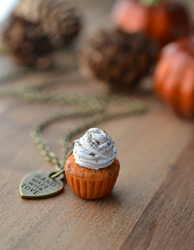 Scented Pumpkin Spice Cupcake Necklace Antique Bronze (Cupcakes Pumpkin Spice)