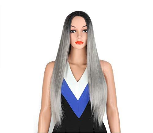 100% High Temperature Silk Wig Set Short Paragraph Female Models Gradient Grandma Gray 72 Cm -