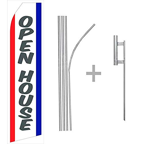 wall26 Open House Econo Flag | 16ft Aluminum Advertising Swooper Flag Kit with - Banner House Open