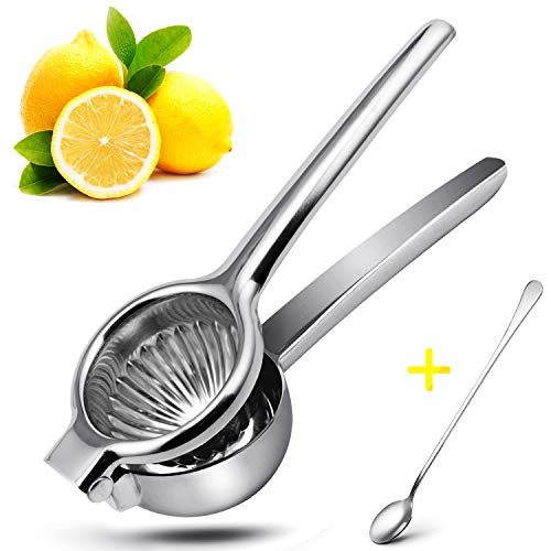 Lemon Squeezer Stainless Steel, Manual Lime Citrus Press Squeezer, XMX Metal Hand Kitchen Juicer with long hand spoon