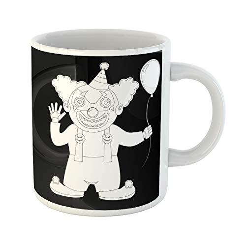 Emvency Funny Coffee Mug Cute Halloween Costume Boy Dressed As Clown Evil Terrible in Hood with Ball 11 Oz Ceramic Coffee Mug Tea Cup Best Gift Or Souvenir ()