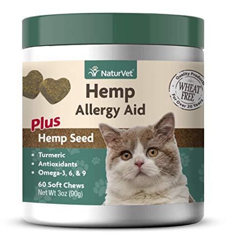 NaturVet - Hemp Allergy Aid For Cats - Plus Hemp Seed - 60 Soft Chews | Helps Maintain Proper Skin Moisture & Respiratory Health | Enhanced with Antioxidants, Omegas, DHA, EPA & Hemp Seeds