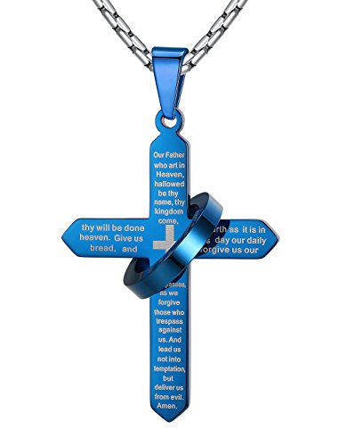 mens-stainless-steel-lords-prayer-cross-halo-pendant-necklace-blue-23-link-chain-ddp057la