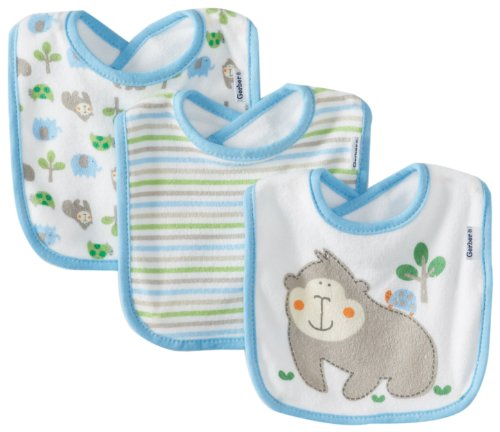 Large Product Image of Gerber Baby Boys' 3 Pack Terry Dribbler Bibs