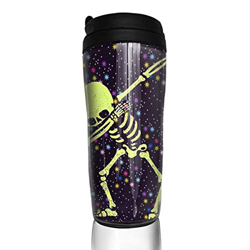 YILISA Travel Coffee Mug Dabbing Skeleton Dab Hip Hop Skull Dabbin 12 Oz Spill Proof Flip Lid Water Bottle Environmental Protection Material -