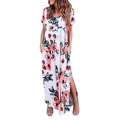 (Women's Casual Loose Pocket Long Dress Short Sleeve Split Maxi Dresses Summer Beach Long Dress by Chaofanjiancai)
