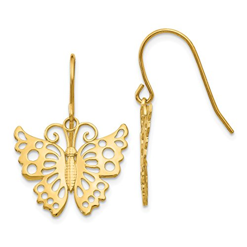 14k Yellow Gold Drop Dangle Chandelier Butterfly Shepherd Hook Earrings Animal Fine Jewelry For Women Gift Set -