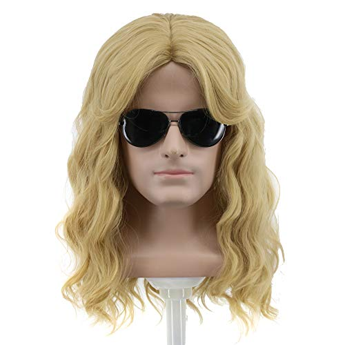 Yuehong Long Blonde Wig Men Party Wig For Cosplay Costume Halloween Hair Wigs]()