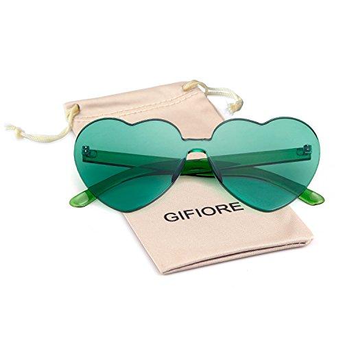 Heart Shape Rimless Sunglasses One Piece Transparent Candy Color Eyewear (Green, 64) -