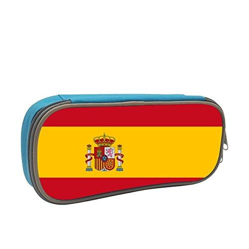 Qujki Spain Flag Pencil Case Double Zipper Large Storage Space Mulit-Function Stationary Portable Pen Bag by Qujki