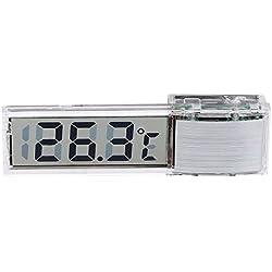 SODIAL(R) Mini Transparent Digital Thermometer LED Temperature Meter for Aquarium