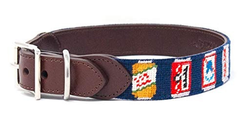 Huck Venture Durable Handcrafted Artisan Needlepoint Dog Collar w/Full-Grain Leather Backing and High-Grade Stainless Steel Hardware (Beer Can, Large) ()