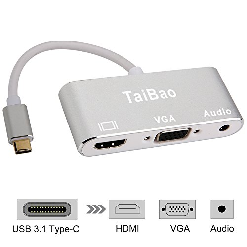USB C to HDMI VGA Audio Adapter,TaiBao USB 3.1 Type C to HDMI 4K VGA 1080P Dual Screen Display Converter for Macbook Pro 2017 / Samsung Galaxy S8 / S8 (Dual Vga Connector)